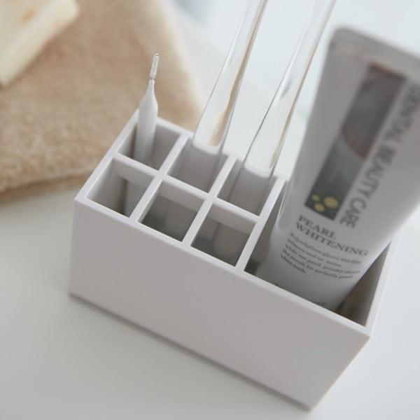 Biały stojak na szczoteczki i pastę do zębów Yamazaki Mist