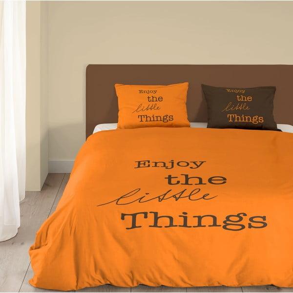 Pomarańczowa pościel bawełniana Müller Textiel Enjoy, 200 x 200 cm