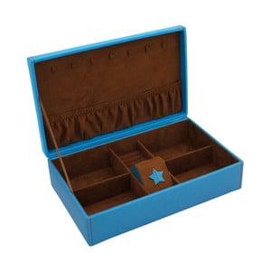 Niebieska szkatułka na biżuterię Friedrich Lederwaren Baccara, 30x19 cm