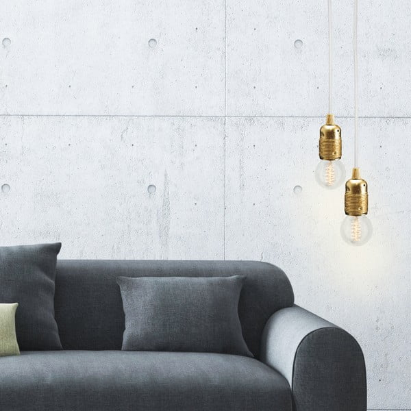 Złoto-biała lampa wisząca Bulb Attack Uno