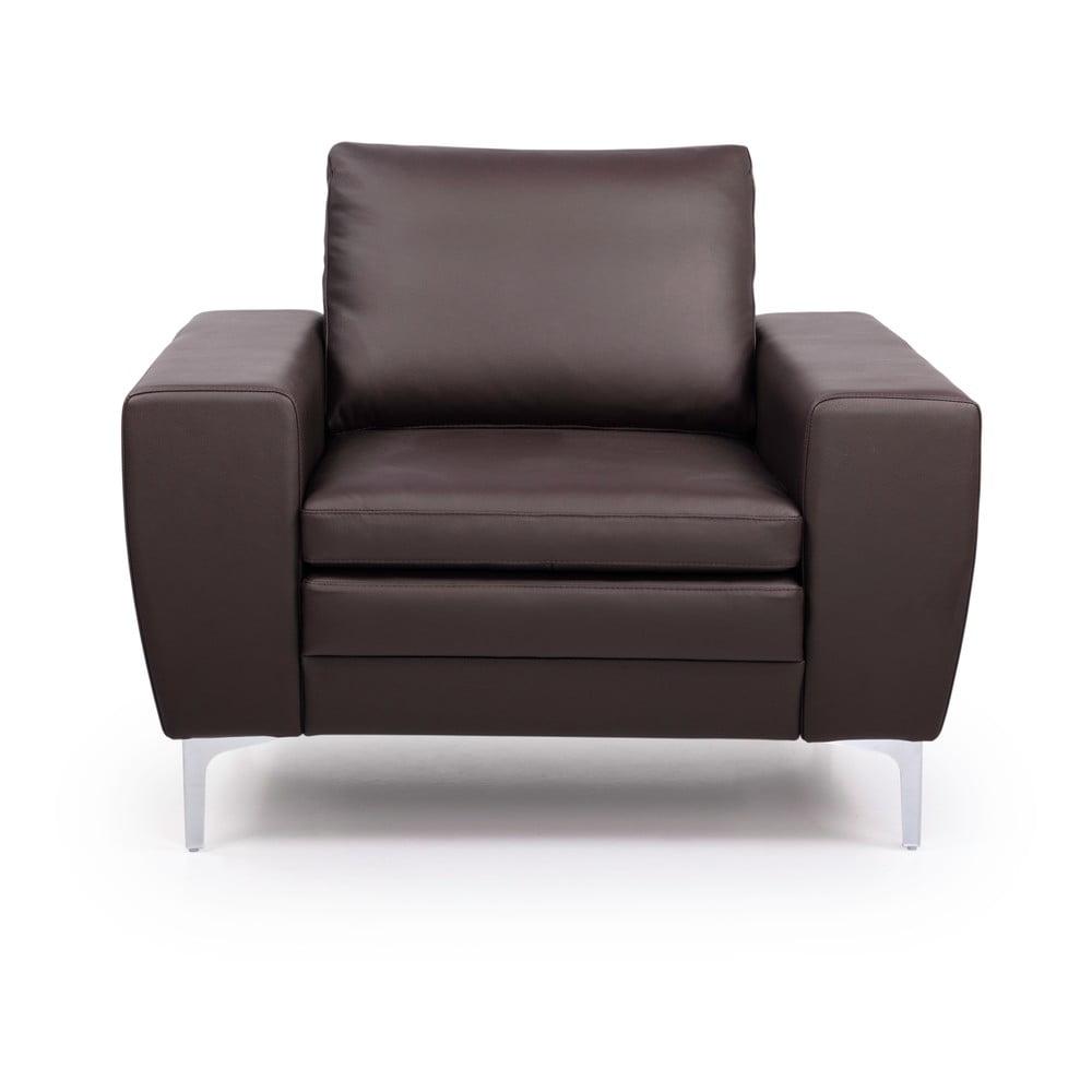Brazowy fotel skórzany Scandic Twigo