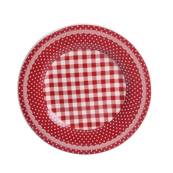 Talerzyk deserowy Red Dots&Checks, 20.5 cm