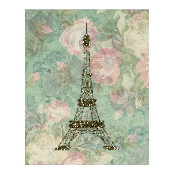 Plakat w drewnianej ramie Eiffel, 38x28 cm