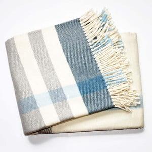 Niebiesko-biały koc z dodatkiem bawełny Euromant Checks, 140x180cm