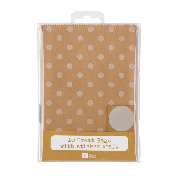 Komplet 10 torebek papierowych Kraft Dot