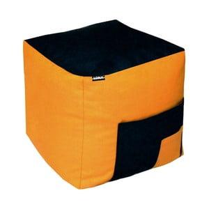 Puf Lona, czarno-pomarańczowy