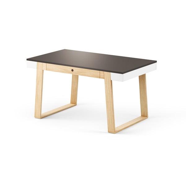 Stół dębowy z czarnym blatem i białymi szczegółami Absynth Magh, 140 x 80 cm