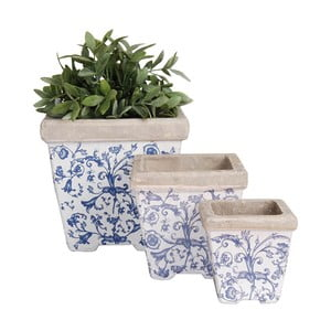Zestaw 3 ceramicznych doniczek kanciastych Esschert Design
