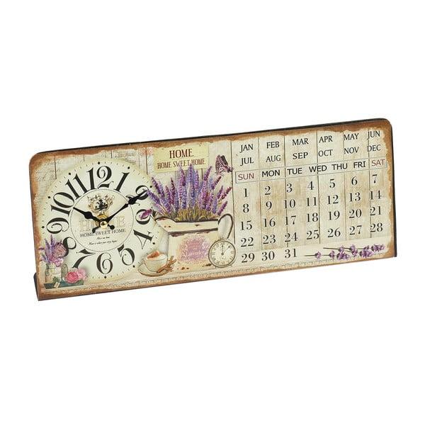 Zegar z kalendarzem Lavender, 35x14 cm