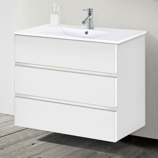 Szafka do łazienki z umywalką i lustrem Nayade, odcień bieli, 90 cm