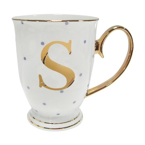 Kubek z literką S w liliowe groszki