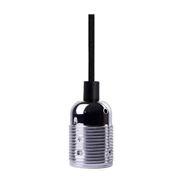 Czarny kabel wiszący w tekstylnym oplocie z oprawą żarówki w srebrnym kolorze Bulb Attack Uno