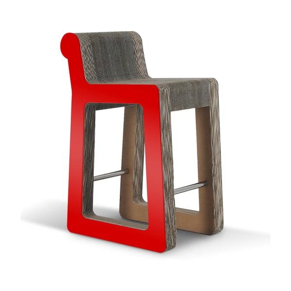 Barowe kartonowe krzesło Knob Stool Red