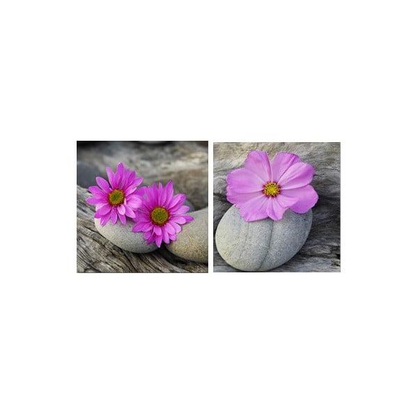 Zestaw obrazów na szkle Kwiaty I, 20x20 cm, 2 szt
