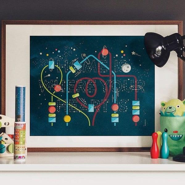 Świecący w ciemności plakat Home Is Where Your Heart Is, 40x50 cm
