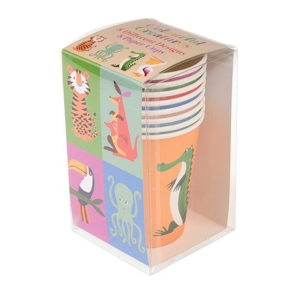 Zestaw 8 kubków papierowych Rex London Colourful Creatures, 250 ml