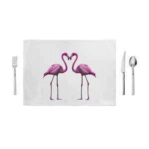 Różowo-biała mata kuchenna Home de Bleu In Love, 35x49cm