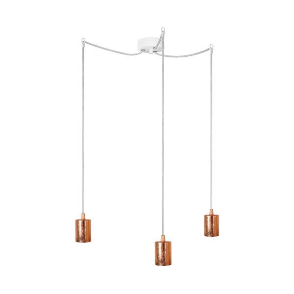 Biało-miedziana potrójna lampa wisząca Bulb Attack
