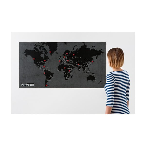 Czarna ścienna mapa świata Palomar Pin World, 126x68cm