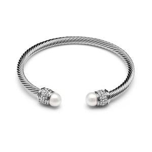 Biała pozłacana bransoletka z perłami i kryształami Swarovski GemSeller Bacopa