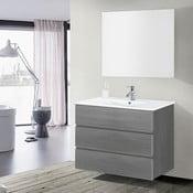 Szafka do łazienki z umywalką i lustrem Nayade, odcień szarości, 100 cm