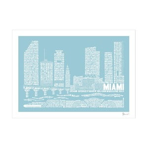 Plakat Miami Blue&White, 50x70 cm