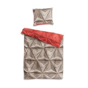 Czerwono-brązowa pościel Snurk Monogami, 140x200 cm
