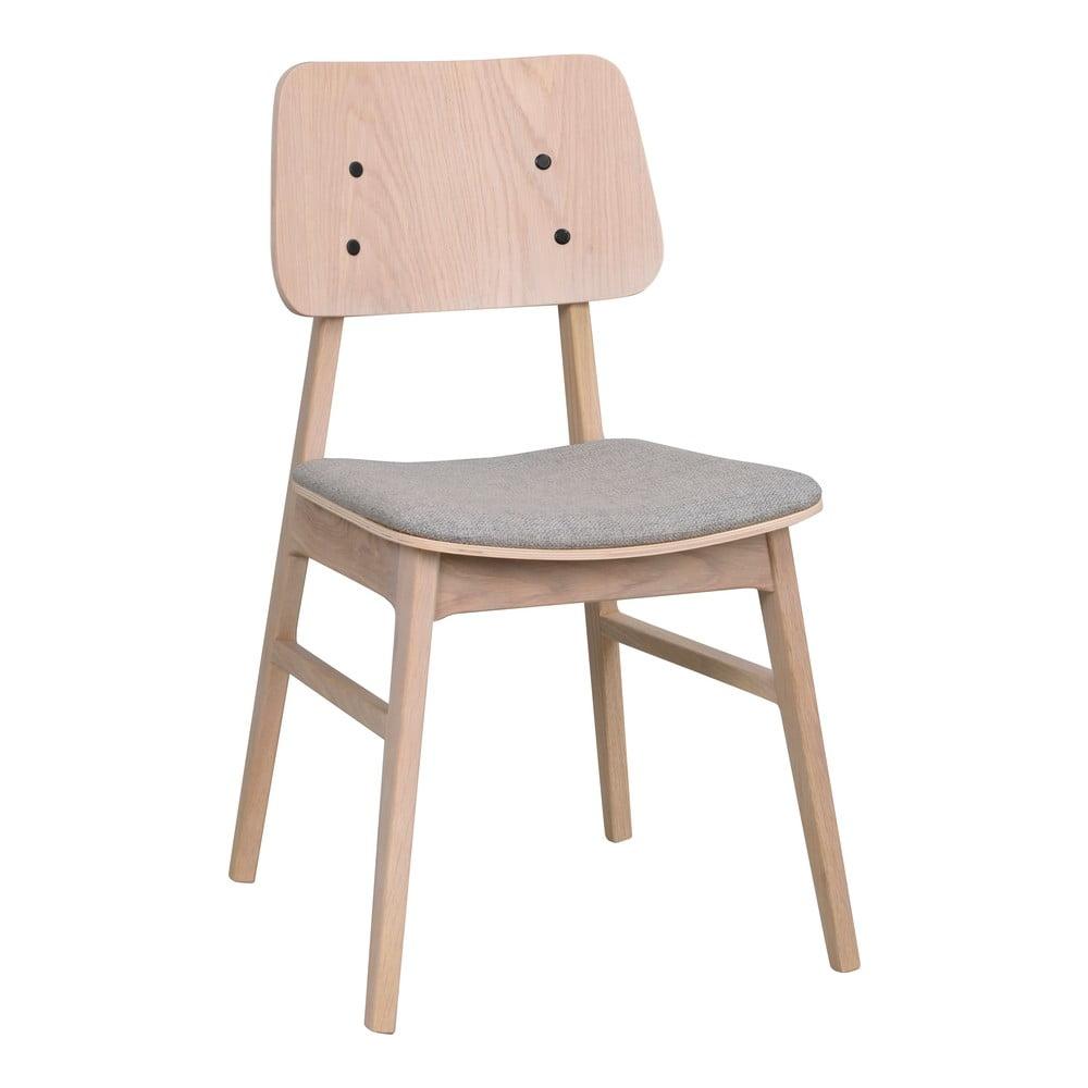 Jasnobrązowe krzesło z jasnoszarym siedziskiem Rowico Nagano