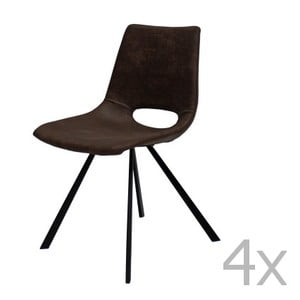 Zestaw 4 brązowych krzeseł Canett Coronas Poly