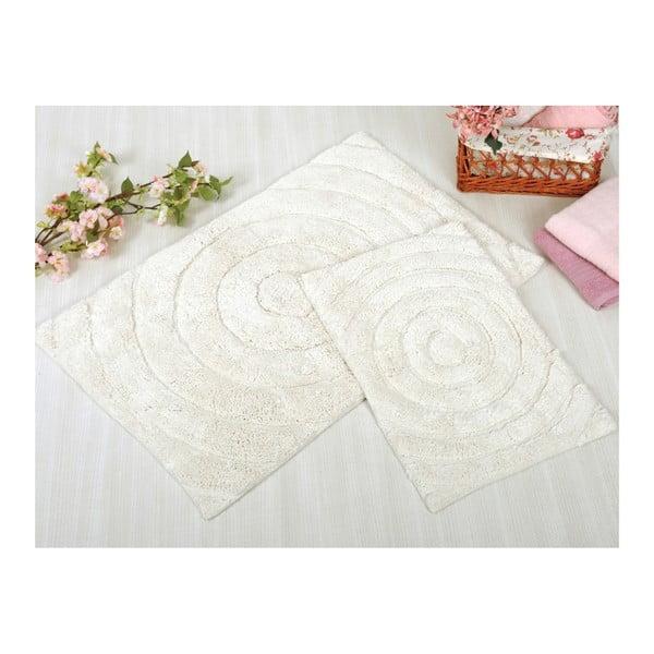 Zestaw 2 kremowych dywaników łazienkowych Irya Home Waves, 60x100 cm i 40x60 cm