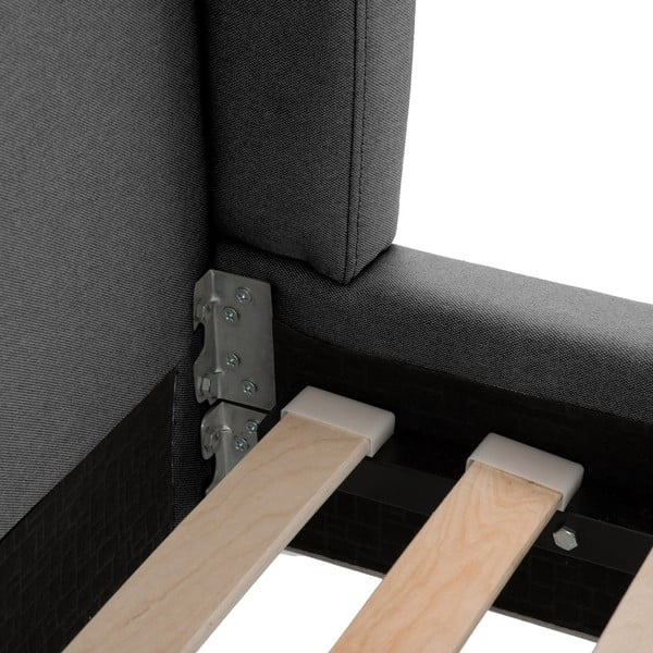 Ciemnoszare łóżko z naturalnymi nóżkami Vivonita Windsor, 160x200 cm