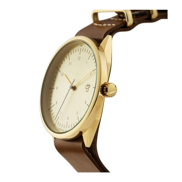 Zegarek z brązowym paskiem i cyferblatem w złotej barwie CHPO Harold