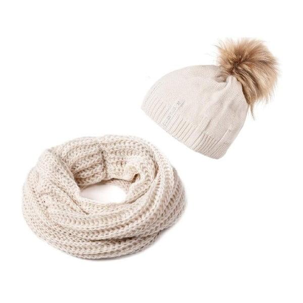Czapka i szalik Crochet Beige
