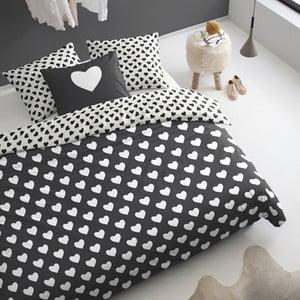 Pościel  Hearts 200x200 cm, czarna