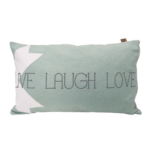 Jasnoszara poduszka Overseas Live Laugh Love, 30x50 cm