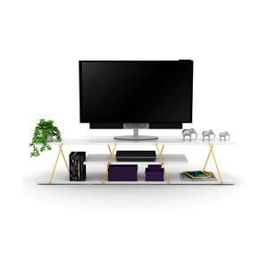 Biały stolik pod TV z żółtymi elementami Rafevi Tars