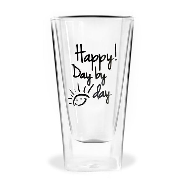 Szklanka z podwójną ścianką Vialli Design Happy Day by Day, 300 ml