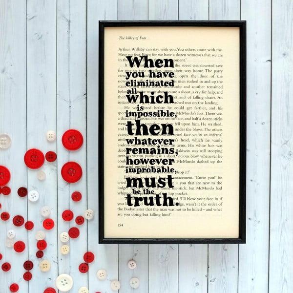 Plakat w   drewnianej ramie Sherlock Holmes Impossible