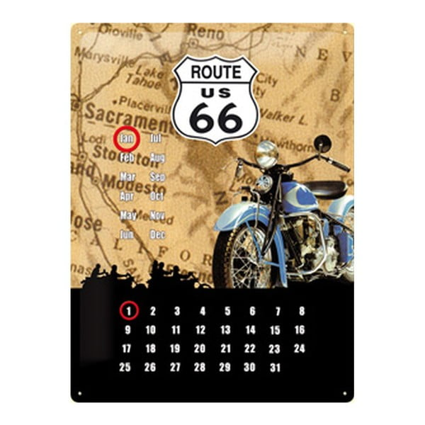 Blaszana tablica Route Calendar, 30x40 cm