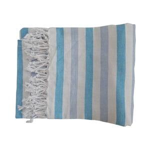 Szaro-niebieski ręcznik kąpielowy tkany ręcznie z wysokiej jakości bawełny Homemania Afrika Hammam,100x180 cm