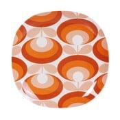 Pomarańczowo-biały talerz Orla Kiely Flower