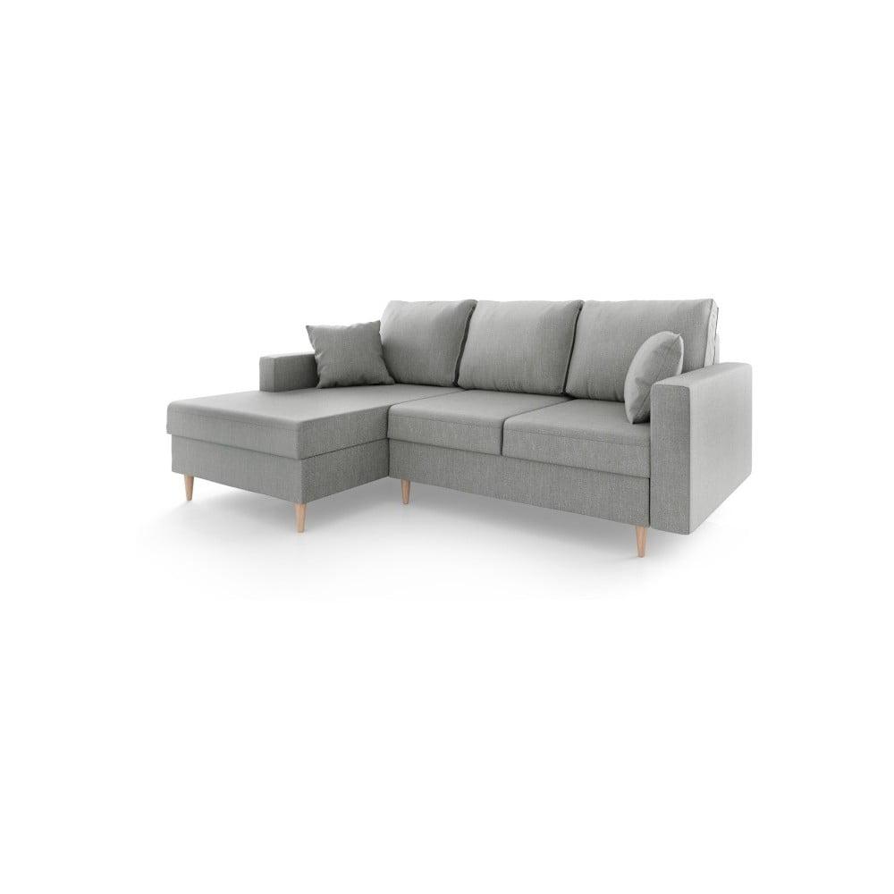 Szara sofa rozkładana ze schowkiem Mazzini Sofas Aubrieta, lewostronna