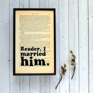 Plakat w   drewnianej ramie Jane Eyre Wedding