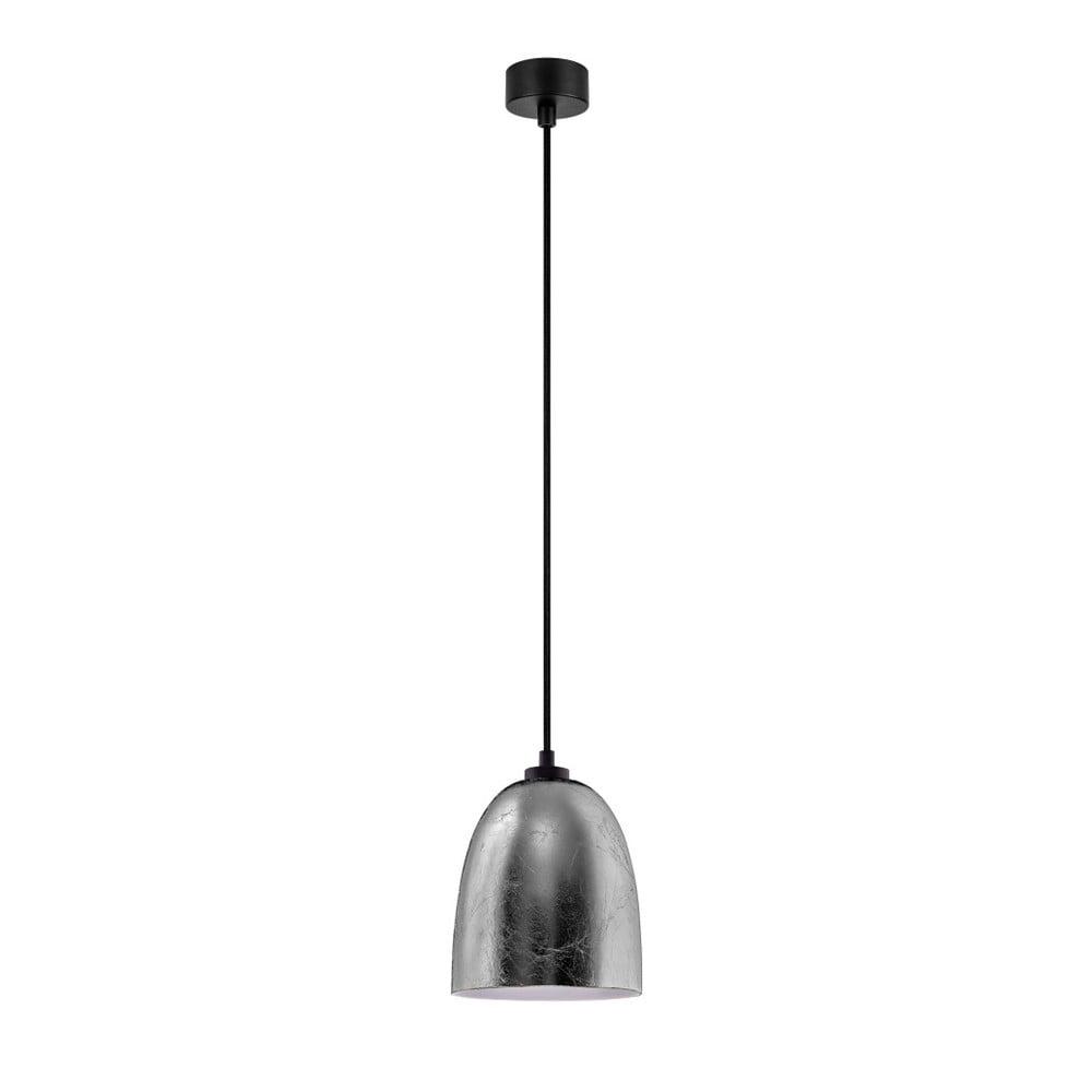 Czarna lampa wisząca z detalem w srebrnym kolorze Sotto Luce Awa