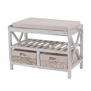 Biała ławka z miejscem na buty Mendler Shabby