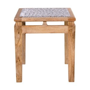 Stołek z drewna mangowego z jasnoszarym siedziskiem House Nordic