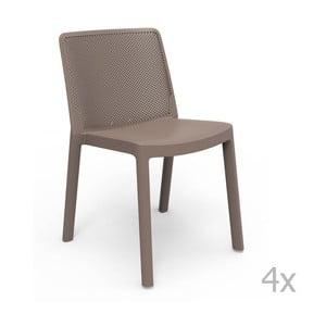 Zestaw 4 brązowych krzeseł ogrodowych Resol Fresh