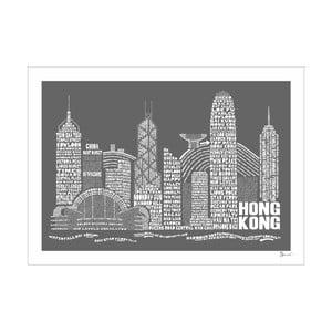 Plakat Hong Kong Grey&White, 50x70 cm