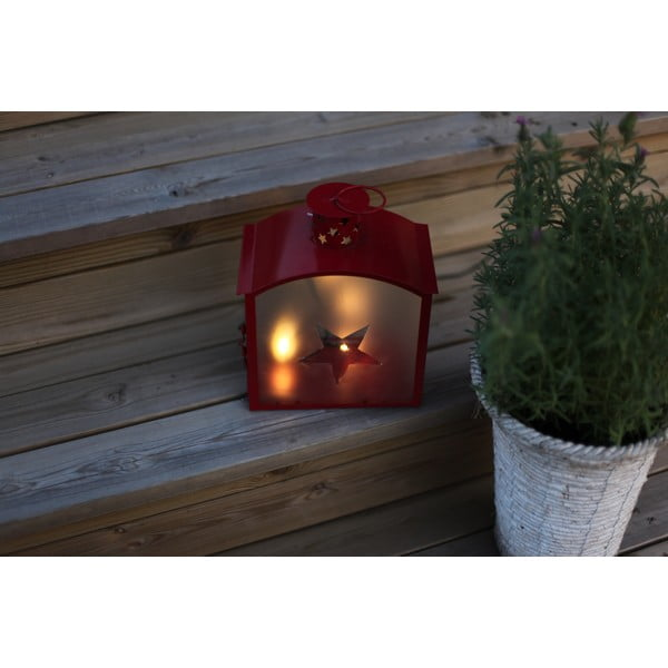 Czerwony lampion LED Best Season Staris 25 cm
