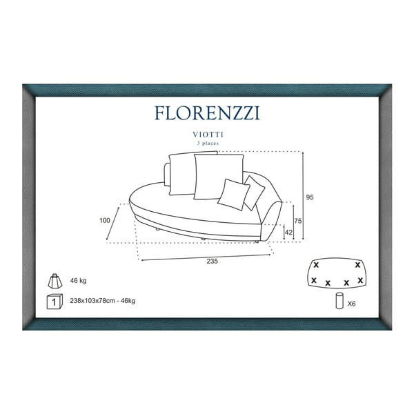 Sofa trzyosobowa z oparciem po prawej stronie Florenzzi Viotti Brown